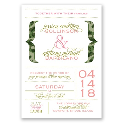 Typography in Camo - Moss Green - Invitation
