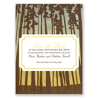 Towering Pines - Canary - Save the Date Card