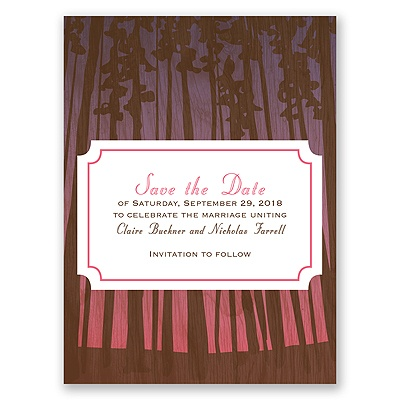 Towering Pines - Posie Pink - Save the Date Card