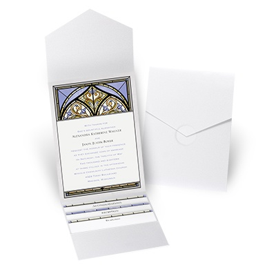 Radiant Art - Orchid - White Shimmer Pocket Invitation
