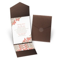 Love Takes Flight - Brown Shimmer - Pocket Invitation