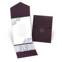 Love Takes Flight - Eggplant - Pocket Invitation
