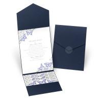 Love Takes Flight - Navy - Pocket Invitation