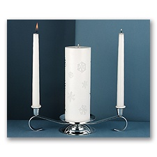 Silver Candle Stand & Candle Selection