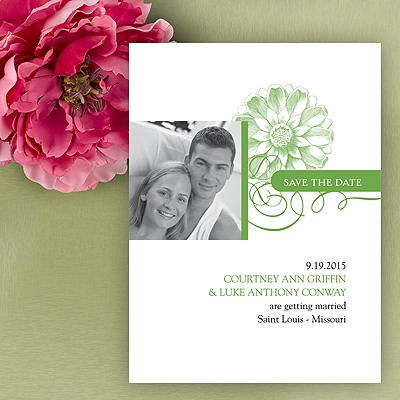 Flower Save The Date Card - Grass