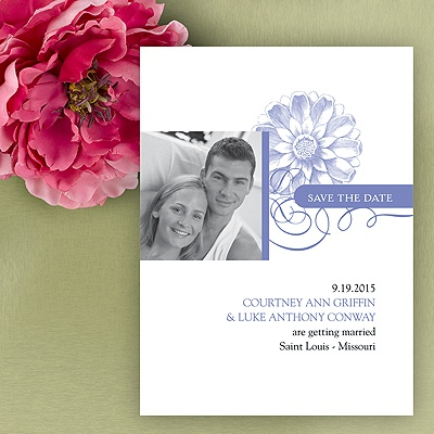 Flower Save The Date Card - Hydrangea