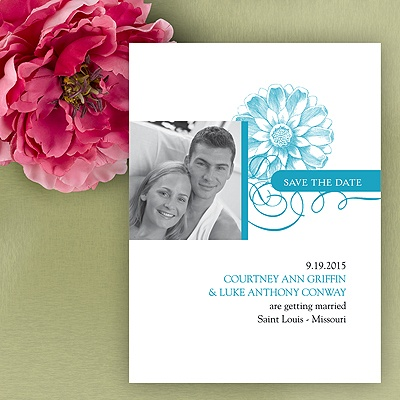 Flower Save The Date Card - Palm