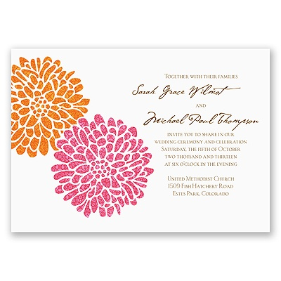 It Takes Two ( Pink and Orange) - Invitation