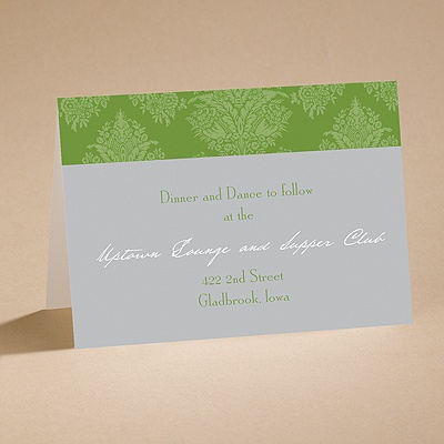 Chic Damask (Grass) - Reception Card