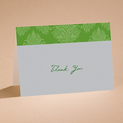 Chic Damask (Grass) - Thank You Card With Verse and Envelope