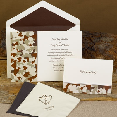 Hunt for Love - Brown Camouflage - Ecru Invitation