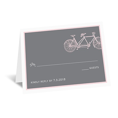 Bicycle Built for Two - Pink - Respond Card and Envelope