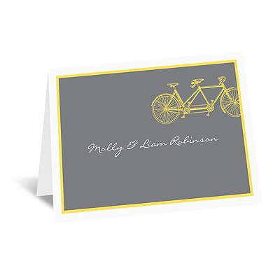 Bicycle Built for Two - Yellow - Note Card and Envelope