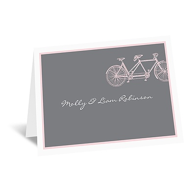 Bicycle Built for Two - Pink - Note Card and Envelope