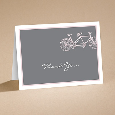 Bicycle Built for Two - Pink - Thank You Card and Envelope