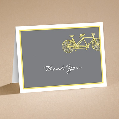 Bicycle Built for Two - Yellow - Thank You Card and Verse and Envel
