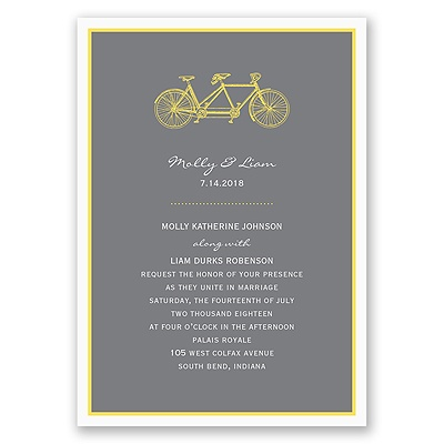 Bicycle Built for Two - Yellow Invitation