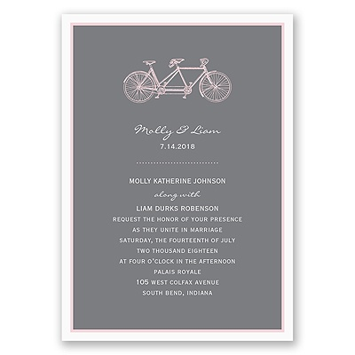 Bicycle Built for Two - Pink Invitation