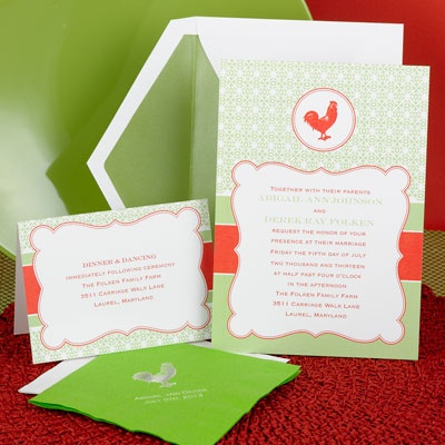 Modern Vintage - Rooster Design - Invitation
