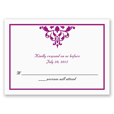 Damask Accents - Response Card and Envelope