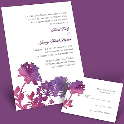 Purple Spring Flowers - Invitation