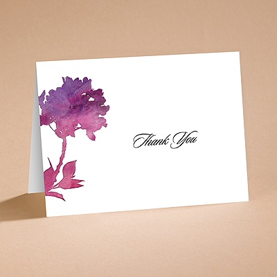 Purple Spring Flowers - Thank You Card and Envelope