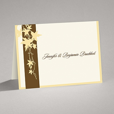 Band of Leaves - Yellow - Thank You Card and Envelope