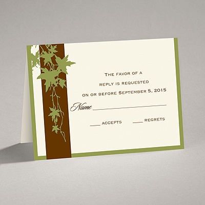 Band of Leaves - Green - Response Card and Envelope
