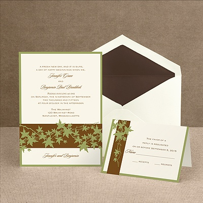 Band of Leaves - Green - Invitation