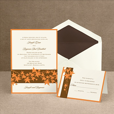 Band of Leaves - Orange - Invitation