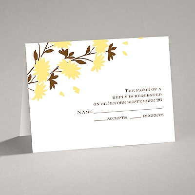 Golden Fall Flowers - Response Card and Envelope
