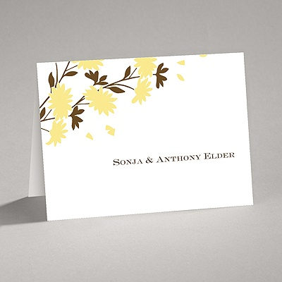 Golden Fall Flowers - Thank You Card and Envelope
