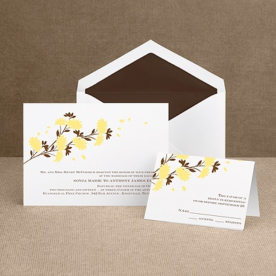 Golden Fall Flowers - Invitation