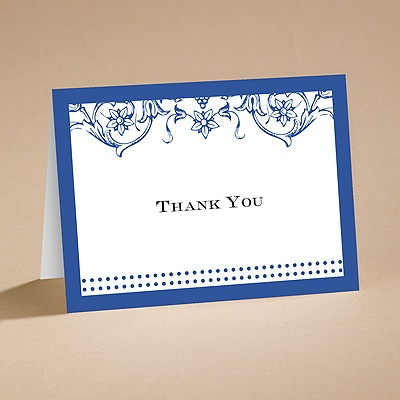 Filigree Flowers - Sapphire Blue - Thank You Card with Verse and Envel