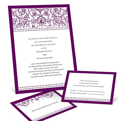 Filigree Flowers - Dewberry Purple - Invitation