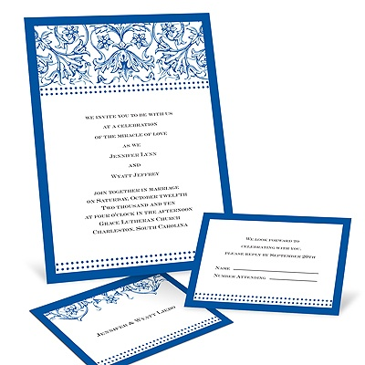 Filigree Flowers - Sapphire Blue - Invitation