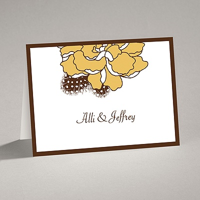 Feathered Flower - Taupe - Thank You Card and Envelope