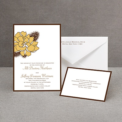 Feathered Flower - Taupe - Invitation