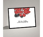 Feathered Flower - Red - Thank You Card and Envelope