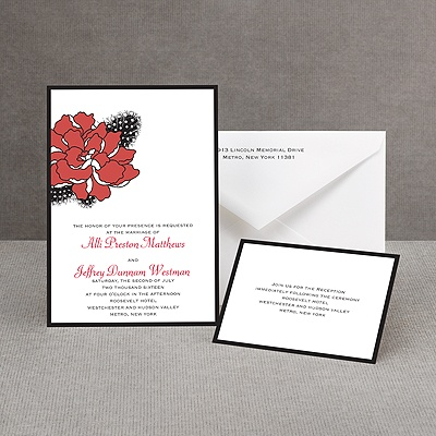 Feathered Flower - Red - Invitation