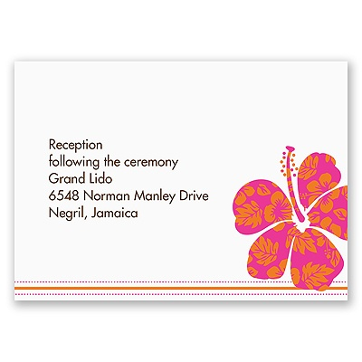 Hibiscus Boarding Pass to Romance - Reception Card