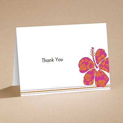 Hibiscus Boarding Pass to Romance - Thank You Card and Envelope
