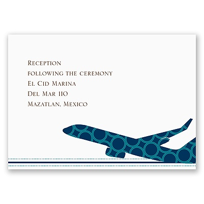 Airplane Boarding Pass to Romance - Reception Card