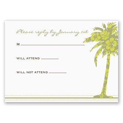 Palm Tree Boarding Pass to Romance - Respond Card and Envelope