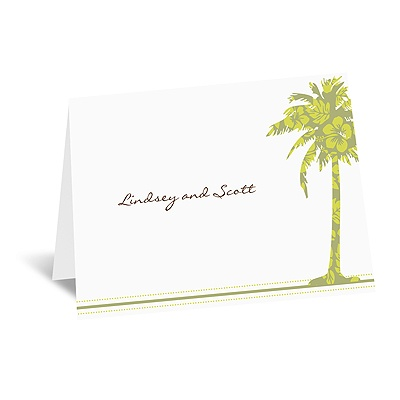 Palm Tree Boarding Pass to Romance - Note Card and Envelope