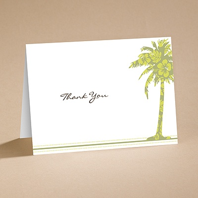 Palm Tree Boarding Pass to Romance - Thank You Card and Envelope
