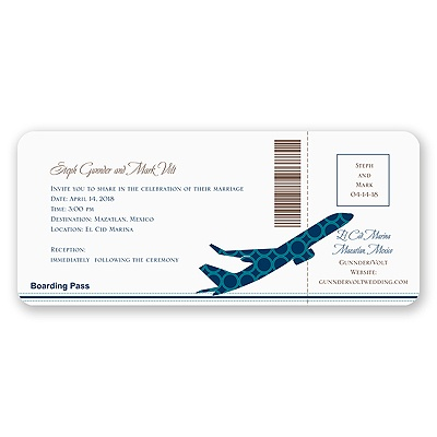 Airplane Boarding Pass to Romance - Invitation