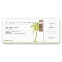 Palm Tree Boarding Pass to Romance - Invitation