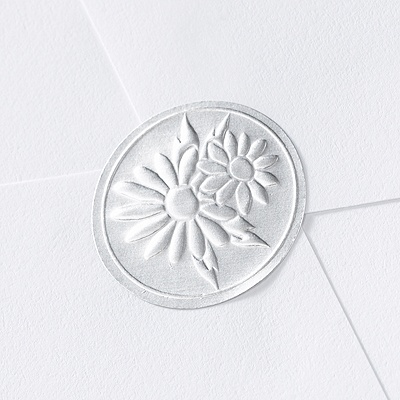 Blank Silver Embossed Daisies Wedding Seal