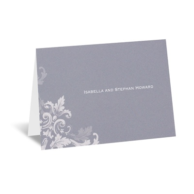 Flourishes - Slate Grey - Note Card and Envelope